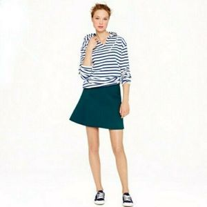 J Crew Size 6 Fluted Double Crepe Skirt In Green